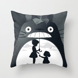 rain umberella cat Throw Pillow