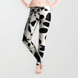 black and white circles in squares Leggings