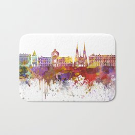 Strasbourg skyline in watercolor background Bath Mat
