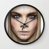 cara Wall Clocks featuring Cara by Anna Sun