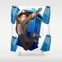 doctor who Shower Curtains featuring Doctor Who by Lucy Fidelis