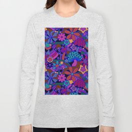 70's Psychedelic Garden in Cool Jeweltone Long Sleeve T-shirt