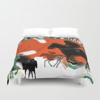 racing Duvet Covers featuring Horse Racing by Robin Curtiss