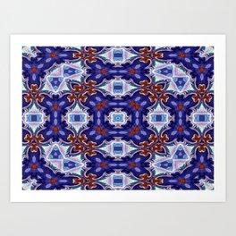 A Little Bit Country Blue Floral Pattern Art Print