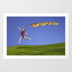 Freedom - A young girl jumping with a colorful kite banner on a clear blue sky day Art Print