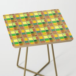 Caribbean Colorful Fabric Madras Tartan Side Table