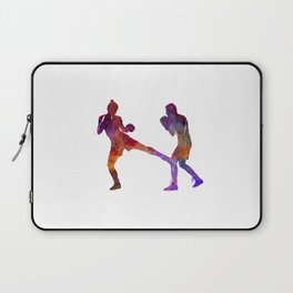 Woman boxer boxing man kickboxing silhouette isolated 02 Laptop Sleeve