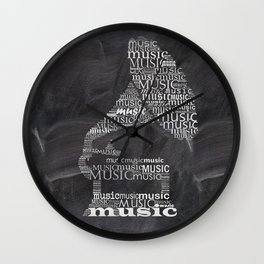 Gramophone on chalkboard Wall Clock