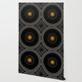Modern Circular Abstract with Gold Mandala Wallpaper