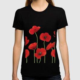 Poppies Field white background T-shirt