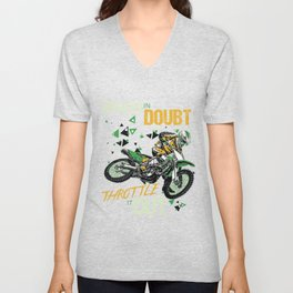 When In Doubt Throttle It Out Dirt Bike Motocross Unisex V-Neck
