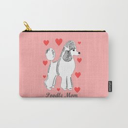 Poodle Mom in Pink and White Carry-All Pouch