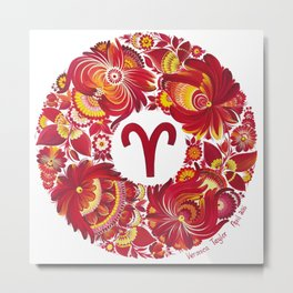 Aries in Petrykivka style (with signature) Metal Print