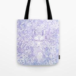 Pastel Purple Hiding Fox Drawing Tote Bag