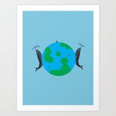 Blue Whales Love Song Art Print