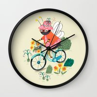 bee Wall Clocks featuring Bee by ilana exelby