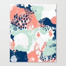 Bristol - acrylic painting abstract navy mint coral modern color palette Canvas Print