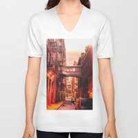 new york city V-neck T-shirts featuring New York City Alley by Vivienne Gucwa