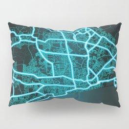 Kingston upon Hull, England, Blue, White, Neon, Glow, City, Map Pillow Sham