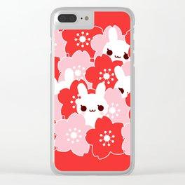 Sakura Bunny Clear iPhone Case