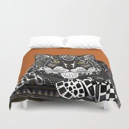 snow leopard orange Duvet Cover