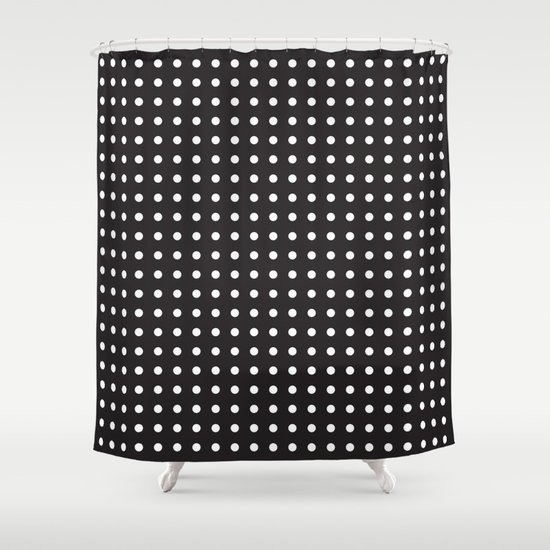 process black and white polka dot shower curtain by dpfnorth society6. Black Bedroom Furniture Sets. Home Design Ideas