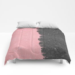 Pretty Girly Pink Black Faux Glitter Brushstroke Comforters