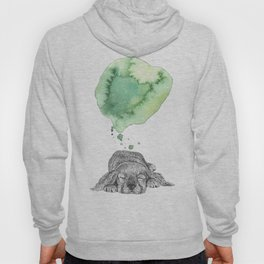Dreaming Puppy - Green Watercolor Hoody
