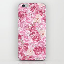 Hand painted white blush pink  coral floral iPhone Skin