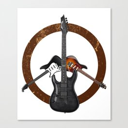 Electric Guitars Peace Sign Music Player Musician Canvas Print