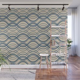 Blue Thin Overlapping Horizontal Lines Pattern on Beige - 2020 Color of the year Chinese Porcelain Wall Mural