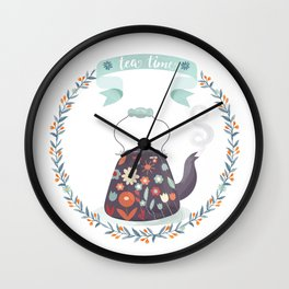 Tea Time Floral Tea Kettle Wall Clock