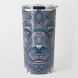 Bear lovers illustration/ hand drawn bear face/ pink, teal blue Travel Mug