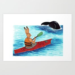 Hansel the hare Kayaking Art Print