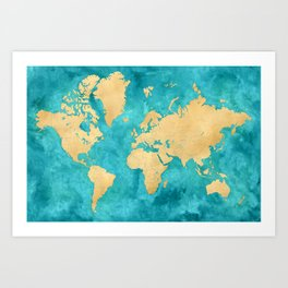 "Teal watercolor and gold world map with countries and states ""Lexy"" Art Print"