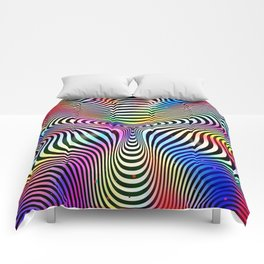 Holographic hypnotic pattern. Colorful iridescent effect. Comforters