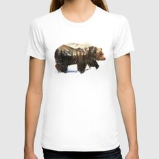 Arctic Grizzly Bear Womens Fitted Tee White LARGE