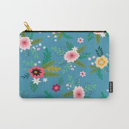 Simple Blue Botanical Pattern Carry-All Pouch
