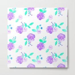 Purple Watercolor Rose Garden Print Metal Print