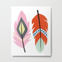tribal feathers 2 Metal Print