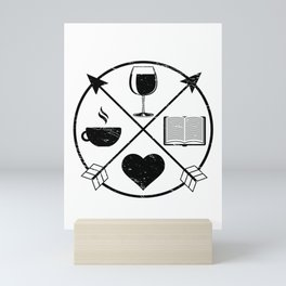 Funny Coffee Wine and Books Lover Novelty product Mini Art Print