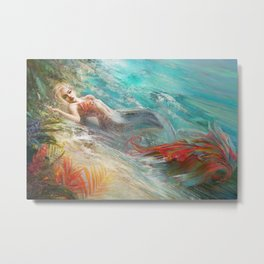 Mermaid sunbathing on the beach fantasy Metal Print