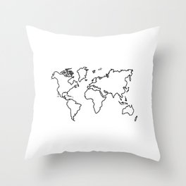 World Map Outline Throw Pillow