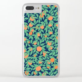 Oranges and Leaves Pattern - Navy Blue Clear iPhone Case