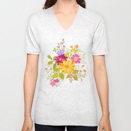 Bold Flowers Unisex V-Neck