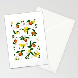 Citrus,floral,oranges,lemons,bees,summer pattern Stationery Cards
