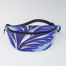 Abstract Blue Christmas Tree Branch with White Snowflakes Fanny Pack