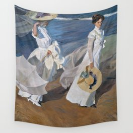 Joaquin Sorolla Y Bastida - Strolling along the seashore Wall Tapestry