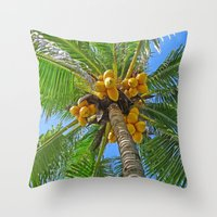 coconut wishes Throw Pillows featuring COCONUT by Lartte