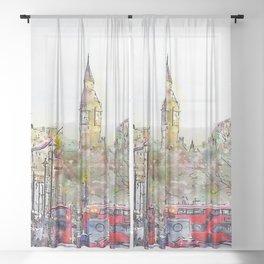 London Street 3 by Jennifer Berdy Sheer Curtain